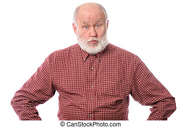 Surprised senior man isolated on white