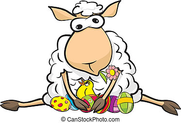 surprised sheep - happy Easter - resting sheep and a big...