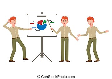 Surprised, shocked, red hair office boy in green pants vector illustration. Pointing finger, showing report of bad statistics man cartoon character set