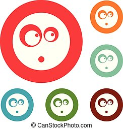 Surprised smile icons circle set vector