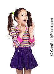 Surprised smiling little girl