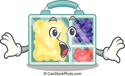 surprised smiling lunch box character shape isolated