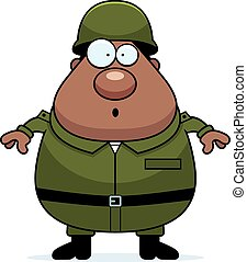 Surprised Soldier - A cartoon illustration of an army...