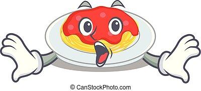 Surprised spaghetti character cartoon style