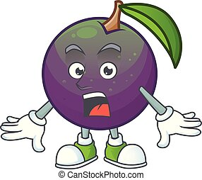Surprised star apple fruit shape character mascot.