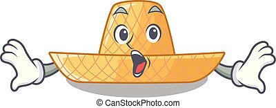 Surprised straw hat in a wooden cartoon