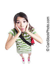 surprised student girl funny face