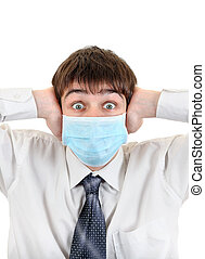 Surprised Teenager in Flu Mask