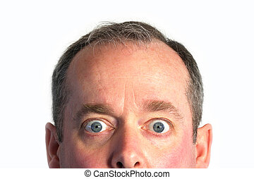 Surprised - The eyes of a man show the condition of being ...