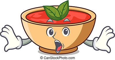 Surprised tomato soup character cartoon