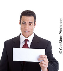 Surprised white businessman holding a blank envelope.  Isolated on white background.