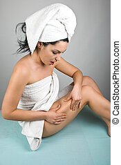 Surprised woman checking cellulite - Surprised woman...