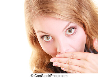 Surprised woman face, girl covering her mouth with hand