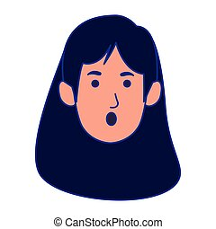 surprised woman face icon, colorful design