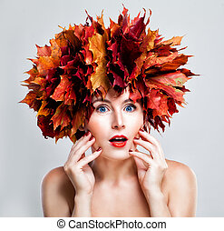 Surprised Woman Fashion Model with Fall Leaves Wreath, Autumn Portrait