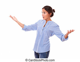 Surprised woman holding up her hands