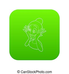 Surprised woman icon green