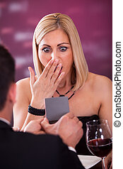 Surprised Woman In Restaurant