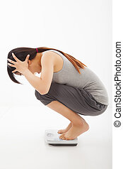 surprised woman looking at weight scales