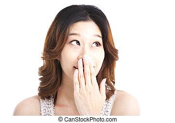 surprised woman looking something