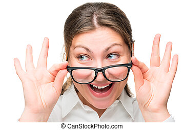 Surprised woman lowered her glasses face close-up isolated