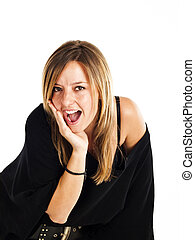 Surprised woman on a white background