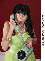Surprised Woman on Rotary Phone