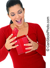 Surprised Woman Opening Gift