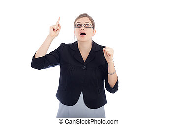 Surprised woman pointing up