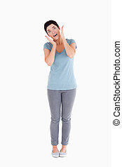 Surprised woman posing