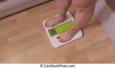 Surprised woman standing on electronic scales for weight control