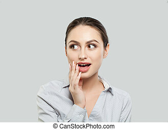 Surprised woman with open mouth