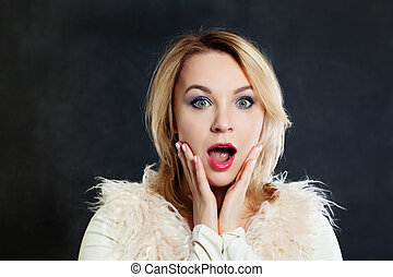 Surprised Woman with Open Mouth. Surprise