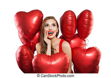 Surprised woman with red balloonsisolated on white background