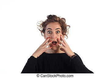 surprised woman with white background
