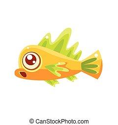Surprised Yellow Fantastic Aquarium Tropical Fish Cartoon Character