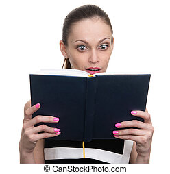 surprised young business woman looking at diary