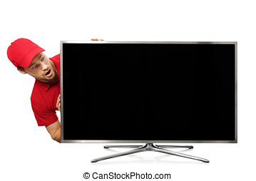 surprised young man in red uniform looking at big blank tv screen