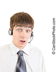 Surprised Young Man with Headset
