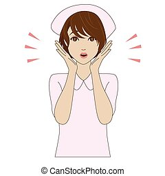 Surprised young nurse in uniform