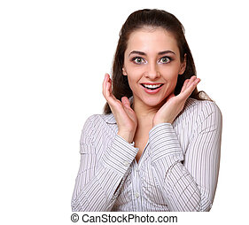Surprising business woman looking happy isolated on white