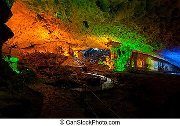 Surprising Cave Interior, Halong Bay - Illuminated interior...