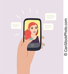 Hand holding smartphone with beautiful woman on screen and speech bubbles. Flat style, vector illustration.