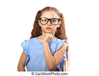 Surprising serious girl in eye glasses thinking and looking isolated on white background with empty copy spase.