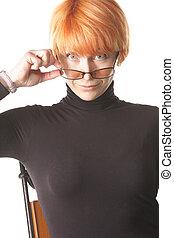 Surprized look over eyeglasses