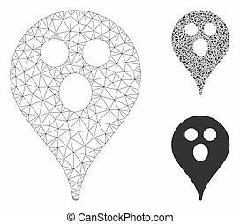 Surprized Smiley Map Marker Vector Mesh Carcass Model and Triangle Mosaic Icon