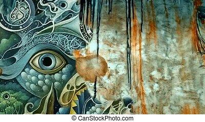 surréaliste, painting., complexe, mystique, oeil