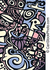 Surreal abstract design, mosaic texture.