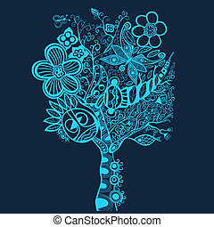 Surreal abstract tree art, vector