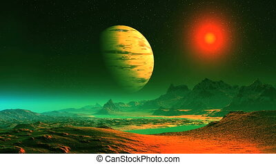 Surreal Alien Landscape - In a dark starry sky largest...